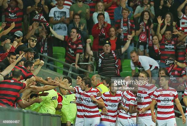 The Wanderers celebrate after Brendon antalab scored a goal during the round 12 ALeague match between Melbourne Victory and the Western Sydney...