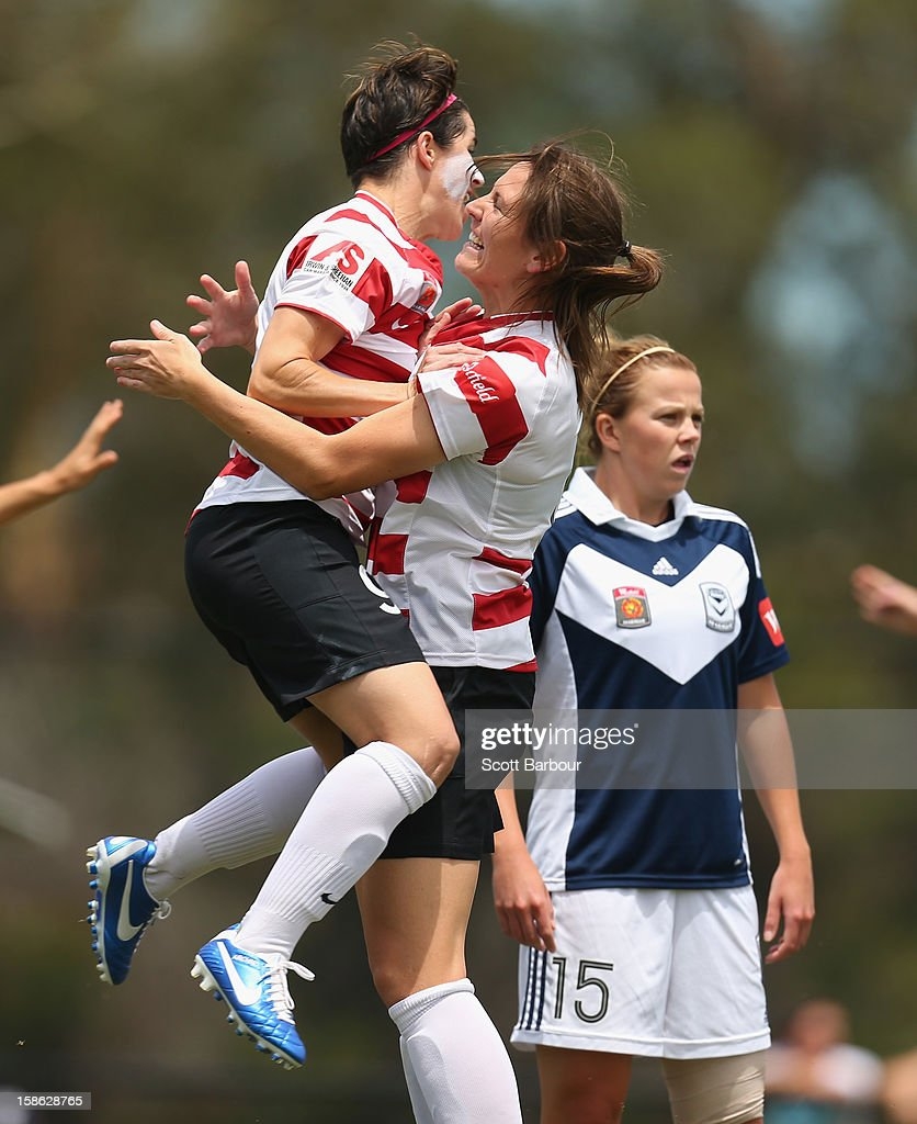 The Wanderers celebrate after Vanessa Hart scored their first goal during the round 10 W-League match between the Melbourne Victory and the Western Sydney Wanderers at Wembley Park on December 22, 2012 in Melbourne, Australia.