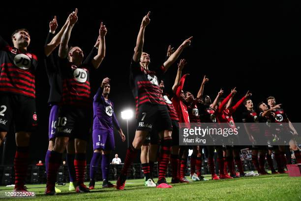 The Wanderers celebrate victory during the round 18 A-League match between Sydney FC and the Western Sydney Wanderers at Netstrata Jubilee Stadium on...