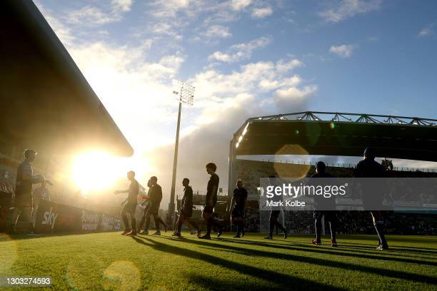 The Wanderers leave the field at half time during the A-League match between the Wellington Phoenix and the Western Sydney Wanderers at WIN Stadium,...