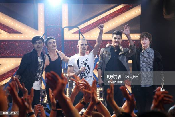 The Wanted perform at The Brit Awards 2011 nominations announcement held at Indigo at The O2 Arena on January 13, 2011 in London, England.