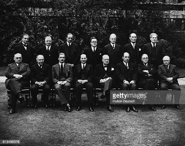The War Cabinet and ministers who regularly attend posed in a special photograph taken at No 10 Downing Streett Left to right Mr Ernest Bevin Lord...