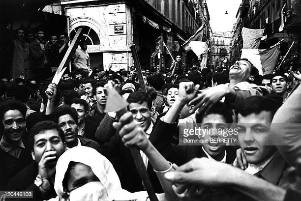 The War In Algiers Algeria In 1960 Demonstration in the casbah of Algiers