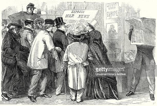 The War In America Reading The War News In Broadway New York 15 June 1861