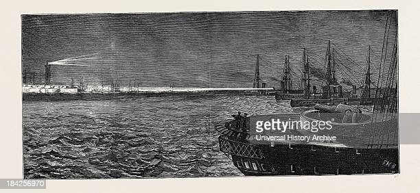 Before The Bombardment Of Alexandria Searching The Forts With The Electric Light July 9 1882