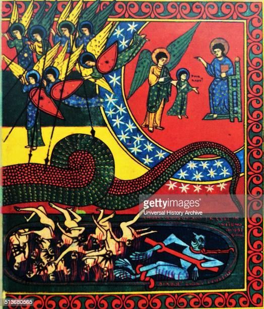The War of the Angels from the Apocalypse of Beatus SaintsSever between 1928 and 1072 Illuminated manuscript Bibliotheque Nationale Paris In a series...