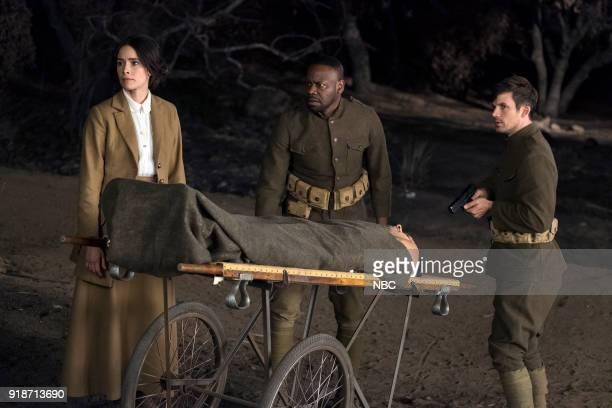 TIMELESS 'The War to End All Wars' Episode 201 Pictured Abigail Spencer as Lucy Preston Matt Lanter as Wyatt Logan Malcolm Barrett as Rufus Carlin