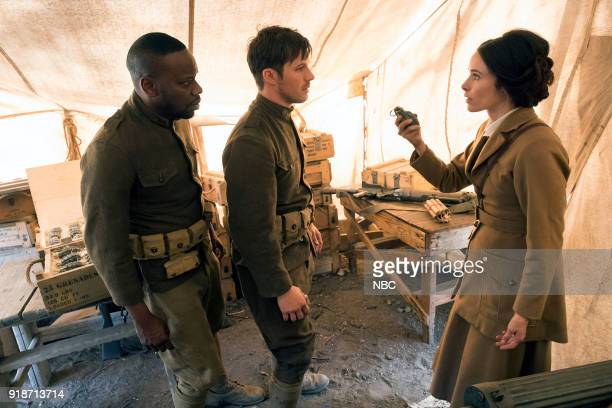 TIMELESS 'The War to End All Wars' Episode 201 Pictured Malcolm Barrett as Rufus Carlin Matt Lanter as Wyatt Logan Abigail Spencer as Lucy Preston