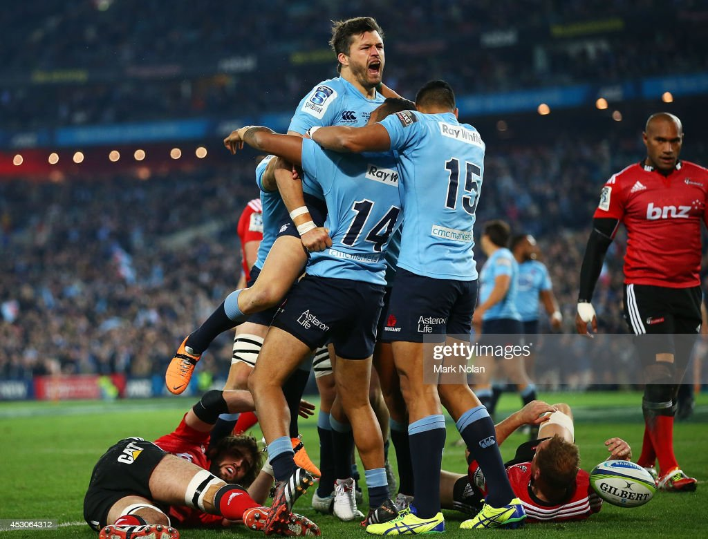The Waratahs celebrate a try by Adam Ashley-Cooper during the Super Rugby Grand Final match between the Waratahs and the Crusaders at ANZ Stadium on August 2, 2014 in Sydney, Australia.