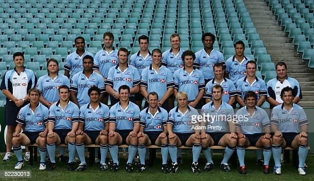 The Waratahs have their team photo taken during training at Aussie Stadium February 23 2005 in Sydney Australia
