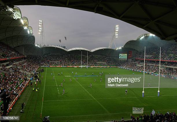 The Waratahs take the kick off to start the round one Super Rugby match between the Melbourne Rebels and the Waratahs at AAMI Park on February 18...