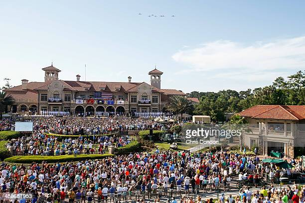 The Warbirds Flyover Team flies in formation over the clubhouse during THE PLAYERS Championship Military Appreciation Day Ceremony on THE PLAYERS...
