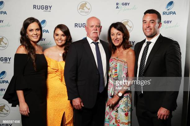 The Ward family pose after accepting the Nick FarrJones Spirit of Rugby award during the 2017 Rugby Australia Awards at Royal Randwick Racecourse on...