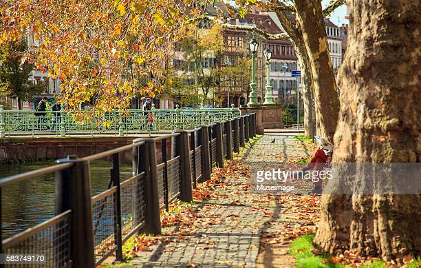 The Warm autumn weather and Street view by Ill river in Strasbourg