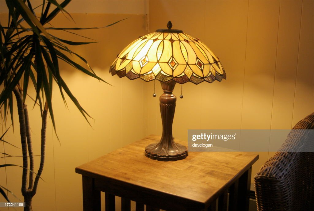 The Warm Glow From Corner Tiffany Lamp : Stock Photo Nice Ideas