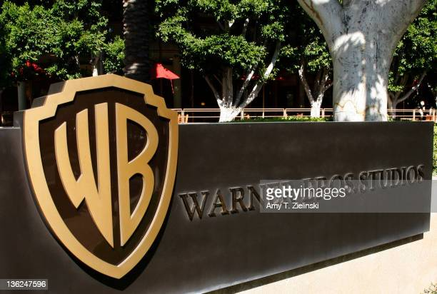 The Warner Bros logo outside the Warner Bros Studio lot in Burbank California 30th September 2008
