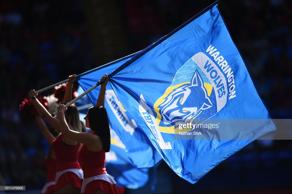 The Warrington Wolves flag during the Ladbrokes Challenge Cup Semi Final match between Warrington Wolves and Leeds Rhinos at Macron Stadium on August 5, 2018 in Bolton, England.