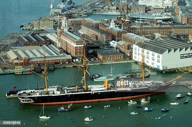 The Warrior and Portsmouth Historic Dockyard from above