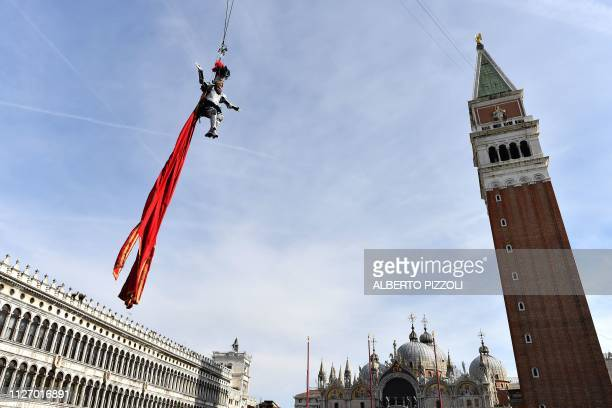 The warrior angel Micol Rossi performs as the Angel of the new Carnival on February 24 2019 in Venice The Flight of the Angel is a traditional event...