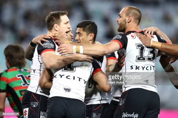 The Warriors celebrate a try scored by Roger TuivasaSheck during the round 24 NRL match between the South Sydney Rabbitohs and the New Zealand...