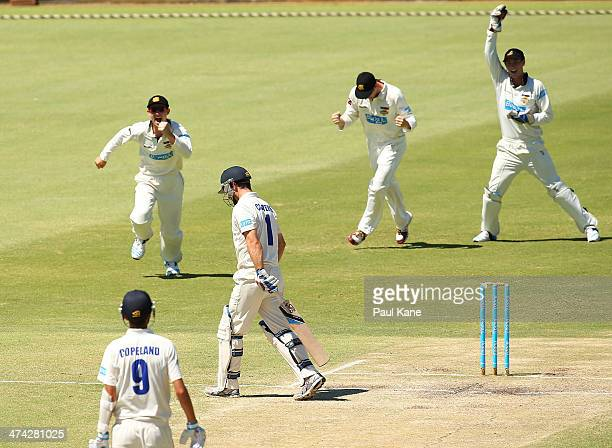 The Warriors celebrate the wicket of Ryan Carters of the Blues during day four of the Sheffield Shield match between the Western Australia Warriors...