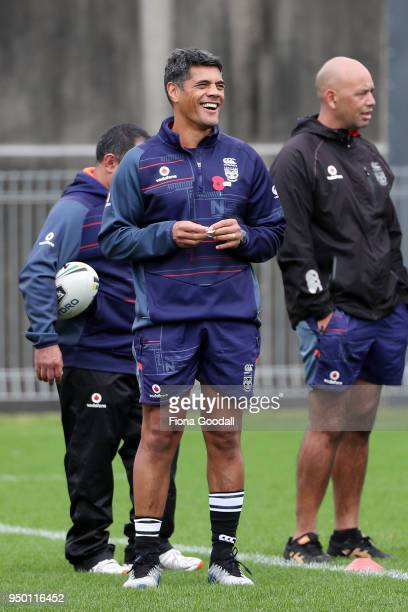 The Warriors coaching squad including head coach Stephen Kearney Stacey Jones and Tony Iro during a New Zealand Warriors NRL media session at Mt...