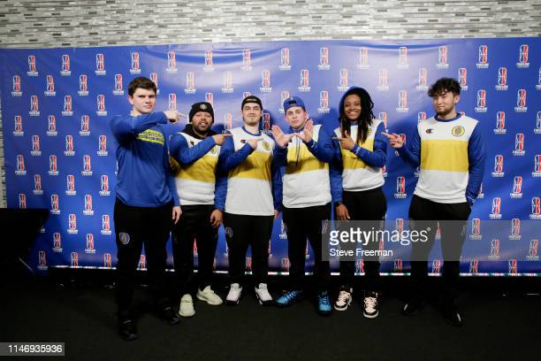 The Warriors Gaming Squad poses for a photo following the match against Pacers Gaming during Week 7 of the NBA 2K League regular season on May 29...