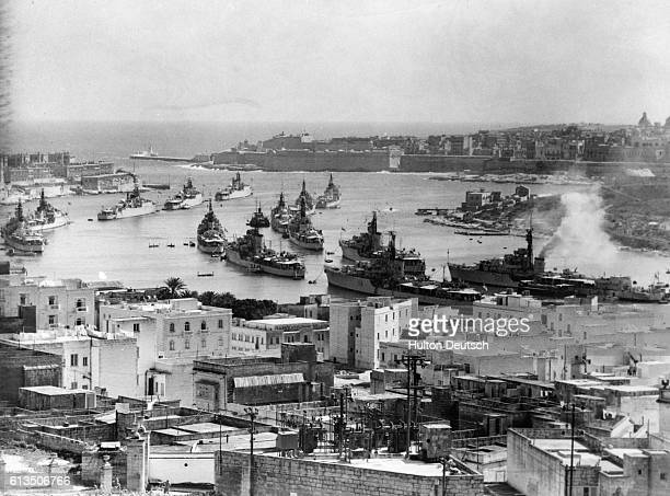 The warships of the Home and Mediterranean Fleet gather in Sheme Creek for a combined naval exercise The row of ships on the left are the Virago...
