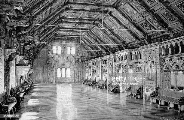 the Wartburg at Eisenach Germany the banquet hall historical image or illustration from the year 1894 digital improved