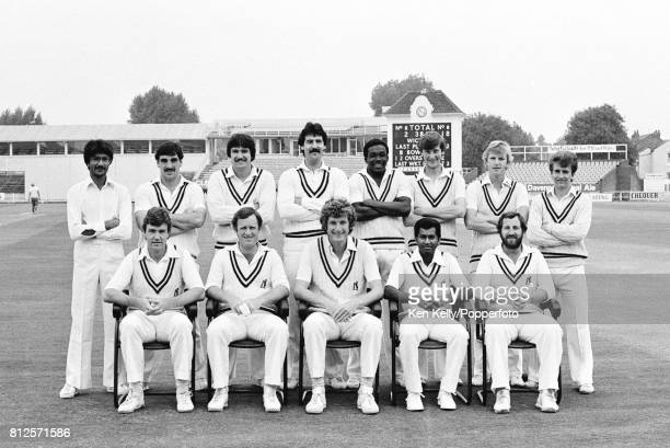 The Warwickshire Cricket Team during the Schweppes County Championship match at Edgbaston Birmingham 9th September 1982 Back row left to right Asif...