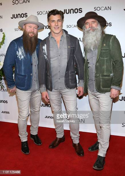 The Washboard Union arrive on the red carpet for the 2019 Juno Gala Dinner and Awards at the London Convention Centre on March 16, 2019 in London,...