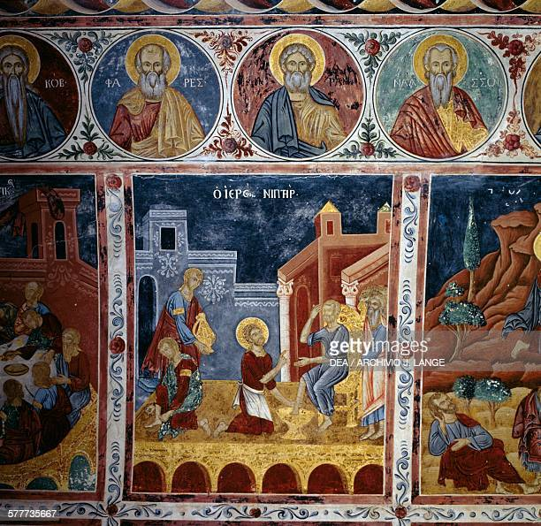The washing of the feet frescoed vault with scenes from the life of Jesus Mikro Sotiris monastery Symi island Greece