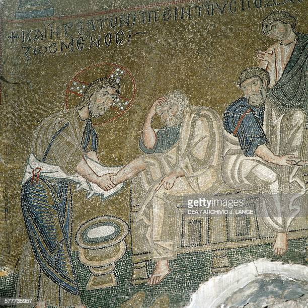 The washing of the feet, mosaic in the katholikon of Nea Moni monastery , Chios island. Greece, 11th century.