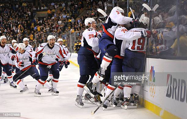 The Washington Capitals beat the Boston Bruins in Game Seven of the Eastern Conference Quarterfinals during the 2012 NHL Stanley Cup Playoffs at TD...