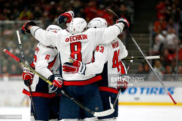 The Washington Capitals celebrate a goal against the Anaheim Ducks during the second period at Honda Center on February 17 2019 in Anaheim California