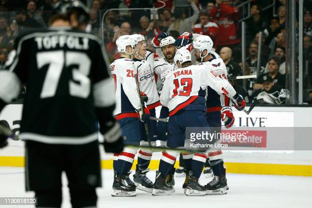 The Washington Capitals celebrate a goal during the first period against the Los Angeles Kings at Staples Center on February 18 2019 in Los Angeles...