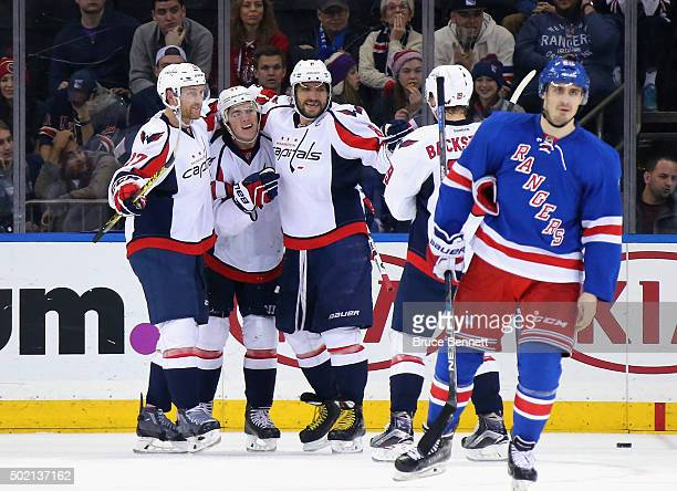 The Washington Capitals celebrate a second period goal by TJ Oshie against the New York Rangers at Madison Square Garden on December 20 2015 in New...