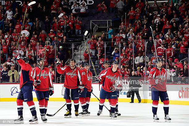 The Washington Capitals celebrate after defeating the Columbus Blue Jackets 41 during their game at Verizon Center on March 28 2016 in Washington DC