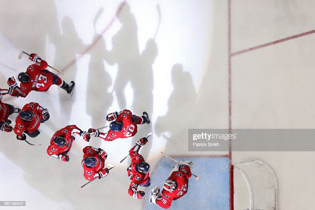 The Washington Capitals celebrate after defeating the Tampa Bay Lightning in Game Six of the Eastern Conference Finals during the 2018 NHL Stanley Cup Playoffs at Capital One Arena on May 21, 2018 in Washington, DC.