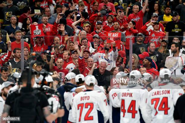 The Washington Capitals celebrate after defeating the Vegas Golden Knights in Game Five of the Stanley Cup Final during the 2018 NHL Stanley Cup...