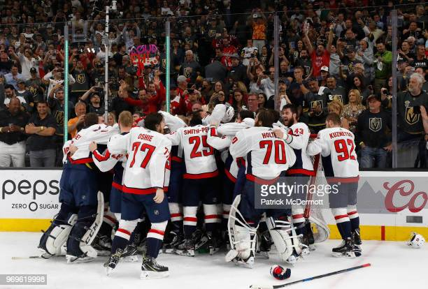 The Washington Capitals celebrate after Game Five of the 2018 NHL Stanley Cup Final between the Washington Capitals and the Vegas Golden Knights at...