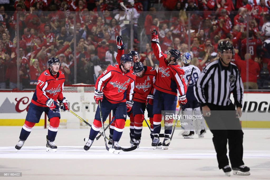 The Washington Capitals celebrate dueing their 3-0 win over the Tampa Bay Lightning in Game Six of the Eastern Conference Finals during the 2018 NHL Stanley Cup Playoffs at Capital One Arena on May 21, 2018 in Washington, DC.