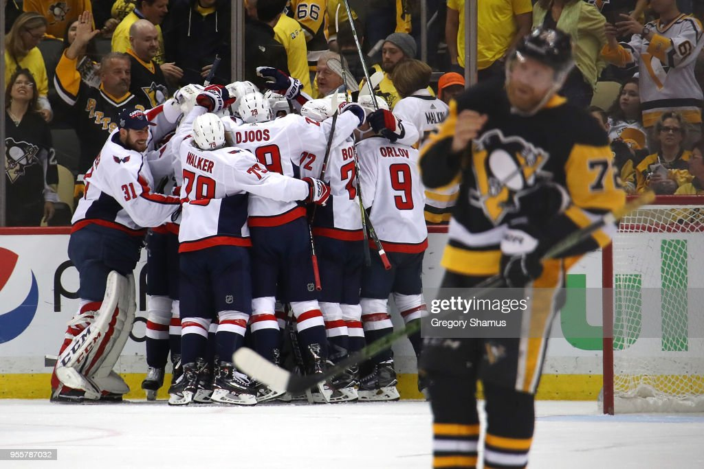 The Washington Capitals celebrate moving on to the Eastern Conference Finals after a 2-1 overtime win behind Patric Hornqvist #72 of the Pittsburgh Penguins in Game Six of the Eastern Conference Second Round during the 2018 NHL Stanley Cup Playoffs at PPG Paints Arena on May 7, 2018 in Pittsburgh, Pennsylvania.