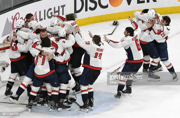The Washington Capitals celebrate their 43 victory over the Vegas Golden Knights to win the Stanley Cup in Game Five of the 2018 NHL Stanley Cup...
