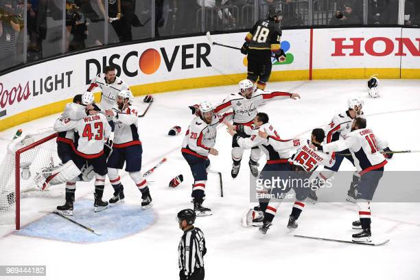 The Washington Capitals celebrate their 43 win over the Vegas Golden Knights to win the Stanley Cup in Game Five of the 2018 NHL Stanley Cup Final at...