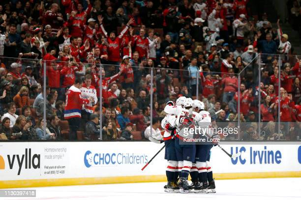 The Washington Capitals celebrate their first goal against the Anaheim Ducks during the first period at Honda Center on February 17 2019 in Anaheim...
