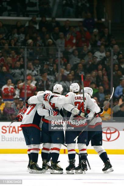 The Washington Capitals celebrate their third goal during the second period against the Los Angeles Kings at Staples Center on February 18 2019 in...