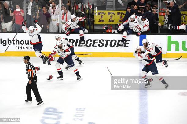 The Washington Capitals clear the bench to celebrate their 43 win over the Vegas Golden Knights to win the Stanley Cup in Game Five of the 2018 NHL...