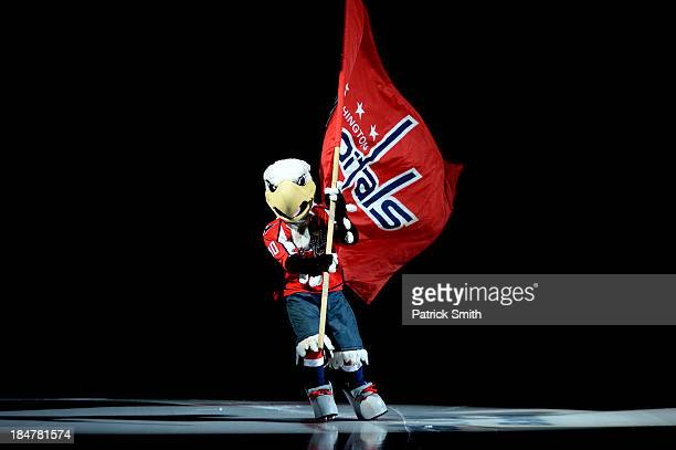 The Washington Capitals mascot skates on the ice before the Washington Capitals play against the Colorado Avalanche at Verizon Center on October 12...