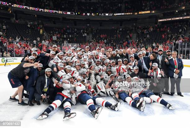 LAS The Washington Capitals take a team photo on the ice after winning Game 5 of the Stanley Cup Final between the Washington Capitals and the Vegas...